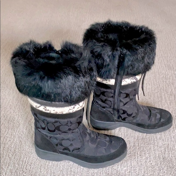 Coach Signature Lorna Fur Trimmed Winter Boots